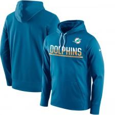 Hombres Miami Dolphins Nike Sideline azul circuito Jersey Performance con capucha