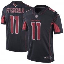 Hombres Arizona cardenales Larry Fitzgerald Camiseta Nike Negro Color Rush limitada