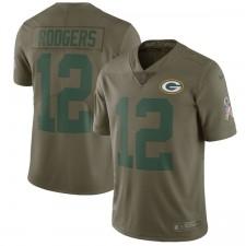 Los hombres de la bahía verde Packers Aaron Rodgers Nike oliva saludo a la Camiseta de servicio limitada