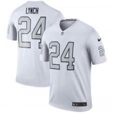 Los hombres de Oakland Raiders Marshawn Lynch Nike color blanco Rush Leyenda Camiseta