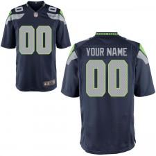 Hombres Seattle Seahawks Nike Universidad Navy juego personalizado camiseta