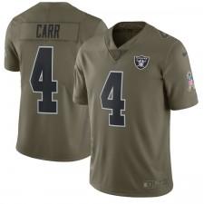 Los hombres de Oakland Raiders Derek Carr Nike oliva saludo a la Camiseta de servicio limitada