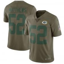 Los hombres verde Bay Packers Clay Matthews Nike oliva saludo a la Jersey de servicio limitada