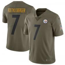 Los hombres de Pittsburgh Steelers Ben Roethlisberger Nike Olive saludo al servicio de Jersey limitada