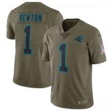 Los hombres de Carolina panteras Cam Newton Nike oliva saludo a la Jersey de servicio limitada