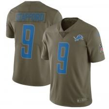 Los Leones de Detroit Matthew Stafford Nike Olive saludo a Service Limited Camiseta