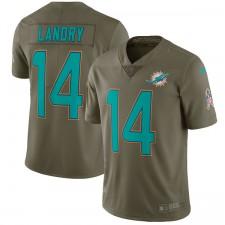 Los hombres de Miami delfines Jarvis Landry Nike Olive saludo a la Jersey de servicio limitada