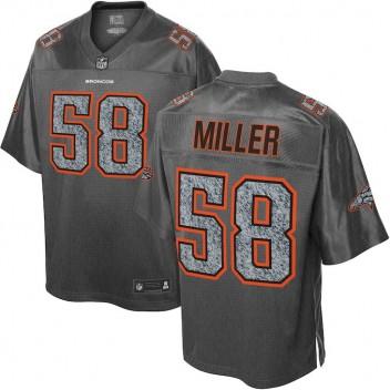 7842063c94 Hombres Denver Broncos von Miller NFL Pro línea gris moda estática Camiseta