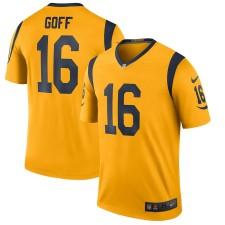 Hombres Los Angeles Rams Jared Goff Nike Oro Color Rush Leyenda Jugador Camiseta