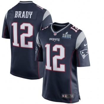 Hombres New England Patriots Tom Brady Nike Marina Super Bowl LIII Límite Juego Camiseta