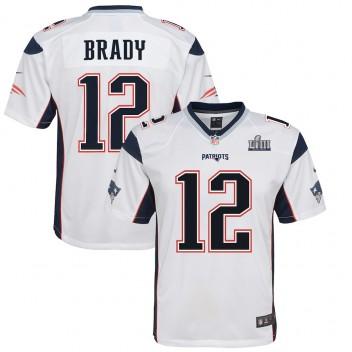 0af290e427bfb Jóvenes New England Patriots Tom Brady Nike Blanco Super Bowl LIII Límite  Juego Camiseta