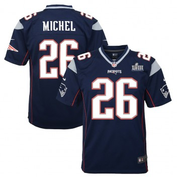 Jóvenes New England Patriots Sony Michel Nike Marina Super Bowl LIII Límite Juego Camiseta