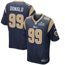 Hombres los Angeles Rams Aaron Donald Nike Marina Super Bowl LIII encuadernado juego Camiseta