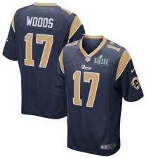 Hombres los Angeles Rams Robert Woods Nike Marina Super Bowl LIII encuadernado juego Camiseta