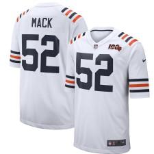 Hombres Chicago Bears Khalil Mack Nike Nike Blanco 2019 100a temporada Alternativa Clásico Jugador Juego Camiseta
