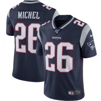 Hombres New England Patriots Sony Michel Nike Navy NFL 100 Vapor Limitada Camisetas