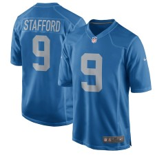 Hombres Detroit Lions Matthew Stafford Nike Azul Throwback Juego Camisetas