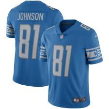 Hombres Detroit Lions Calvin Johnson Nike Azul Jugador Retirado Vapor Untouchable Limited Throwback Camisetas