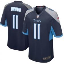 Hombres Tennessee Titans A.J. Brown Brown Juego Navy Camisetas por Nike