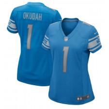 Jeff Okudah Detroit Lions Nike Mujeres 2020 NFL Draft Primera Ronda Pick Juego Camisetas – Azul