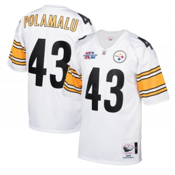 Troy Polamalu Pittsburgh Steelers Mitchell & Ness 2005 Auténtico Throwback Jugador Retirado Camisetas - Blanco