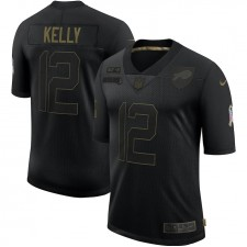 Jim Kelly Buffalo Bills Nike 2020 Salute To Service Retirado Limitada Camisetas – Negro
