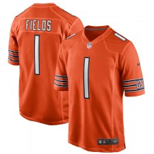 Justin Fields Chicago Bears Nike 2021 NFL Draft Primera Ronda Selección Camiseta Alternativa - Naranja