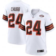 Nick Chubb Cleveland Browns Camiseta de Juego Nike 1946 Collection Alternate - Blanco