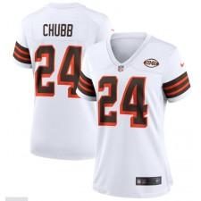 Nick Chubb Cleveland Browns Camiseta de Juego Alternativa de la Colección 1946 para Mujer - Blanco