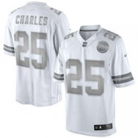 Men's Kansas City Chiefs Jamaal Charles Nike White Platinum Limited Jersey