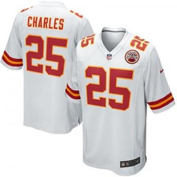 Hombres Kansas City Chiefs Jamaal Charles Nike Blanco Juego NFL Tienda Camisetas