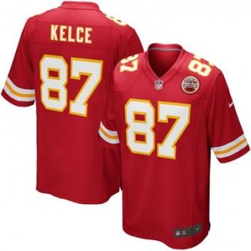 Hombres Kansas City Chiefs Travis Kelce Nike Rojo Equipo Juego NFL Tienda Camisetas