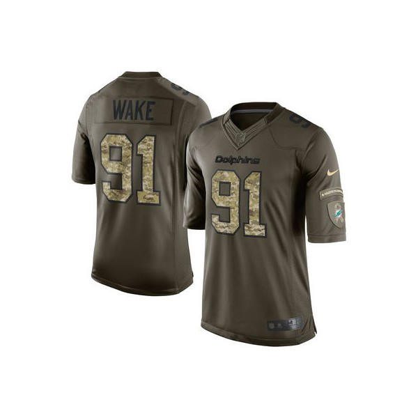 premium selection b06d5 e9ee4 Hombres Miami Dolphins Cameron Wake Nike Verde Salute To ...