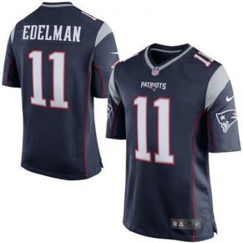 Hombres New England Patriots Julian Edelman Nike Marino Azul Juego NFL Tienda Camisetas