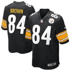 Hombres Pittsburgh Steelers Antonio Brown Nike Negro Juego NFL Tienda Camisetas