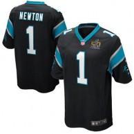 Youth Carolina Panthers Cam Newton Nike Black Super Bowl 50 Bound Game Jersey