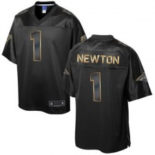 Men's Carolina Panthers Cam Newton Pro Line Black Gold Collection Jersey