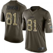 Men's Detroit Lions Calvin Johnson Nike Green Salute To Service Limited Jersey