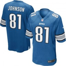 Youth Detroit Lions Calvin Johnson Nike Light Blue Team Color Game Jersey