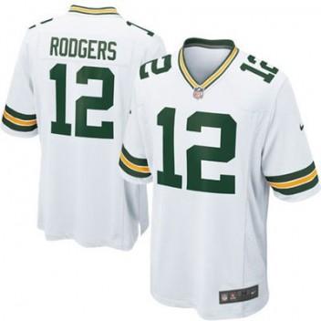 Hombres Verde Bay Packers Aaron Rodgers Nike Blanco Juego NFL Tienda Camisetas