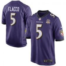 Men's Baltimore Ravens Joe Flacco Nike Purple Team Game 2015 Patch Jersey