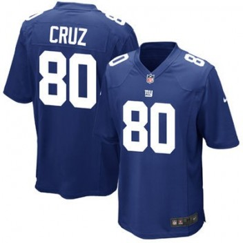 Hombres New York Giants Victor Cruz Nike Real Azul Juego NFL Tienda Camisetas