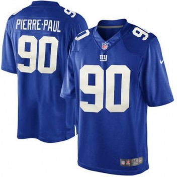 Hombres New York Giants Jason Pierre-Paul Nike Real Azul Equipo Color limitada NFL Tienda Camisetas