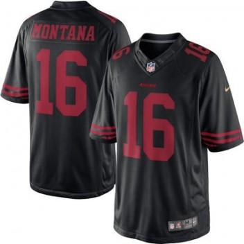 Hombres San Francisco 49ers Joe Montana Nike Negro Jubilado jugador  limitada NFL Tienda Camisetas e8ceefb21f5f5