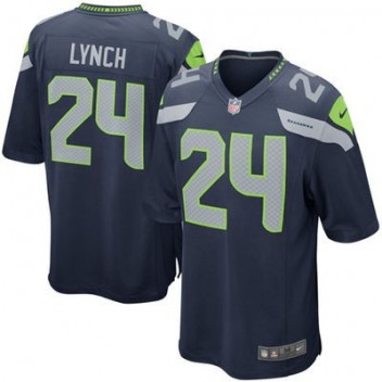 Hombres Seattle Seahawks Marshawn Lynch Nike College Marino Juego NFL Tienda Camisetas